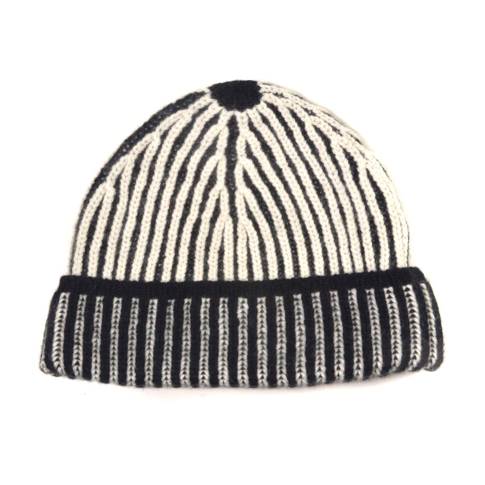 d4144bd7d50 Luxury Scottish black ivory two tone ribbed beanie